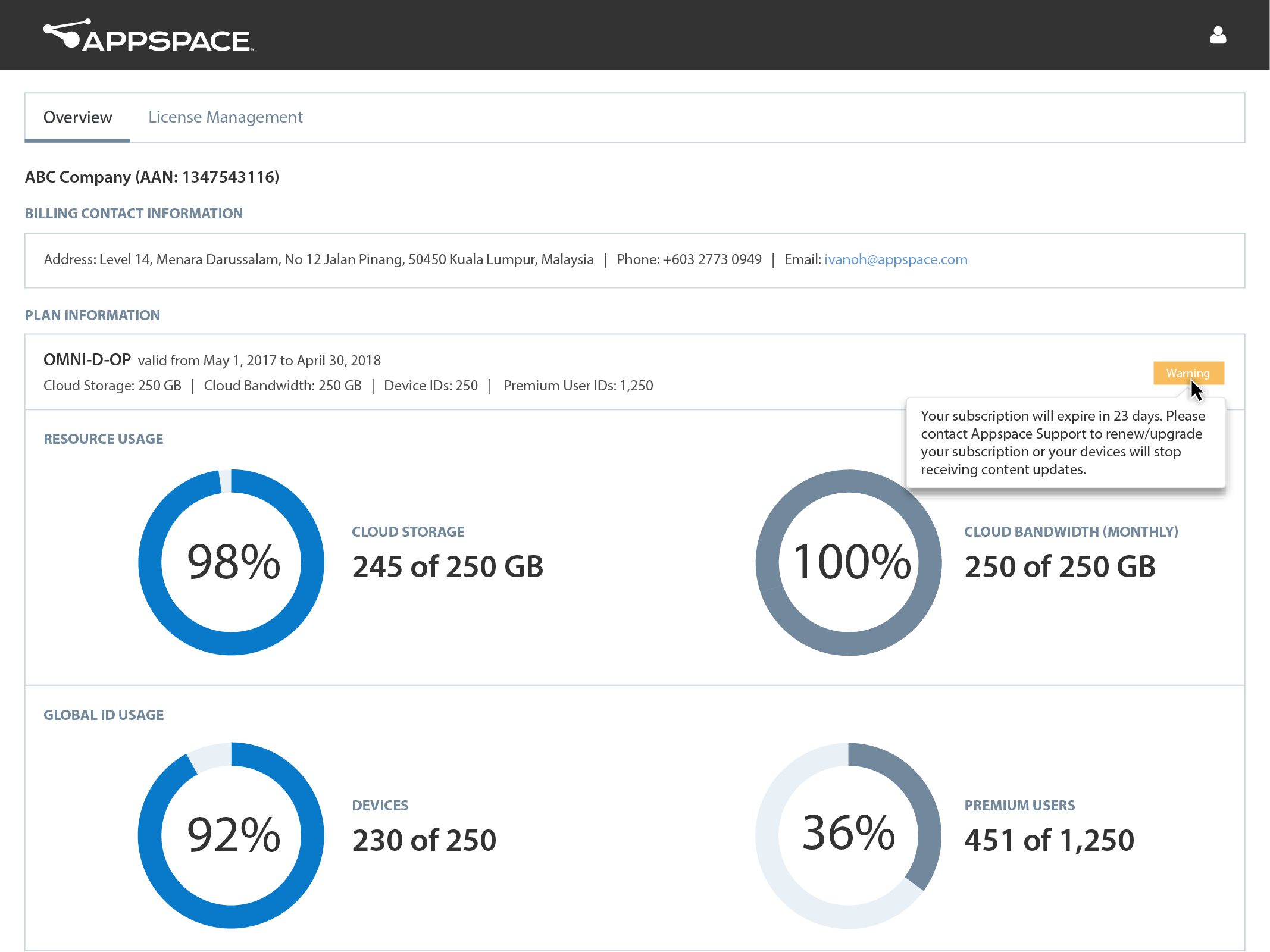 updates account management appspace